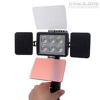 Накамерный светодиодный свет LED-5010A со шторками, 5500K-6500K (3500K/фильтр) + АБ + З/У.