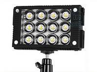 Накамерный светодиодный свет LED W12, 5600K (3200K/фильтр).