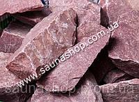 Камень для бани малиновый кварцит колотый, 20 кг.