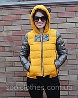 Дутая куртка с ушками рукава кожзам
