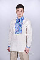 Рубашка вышиванка мужская лен белый вышивка крестом красная, синяя, голубая