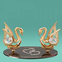 """Оригинальный подарок с кристаллами Swarovski """"Два лебедя и библия"""""""