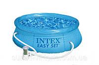 Бассейн надувной для дачи 244х76 см (прозрачные стенки + фильтр) intex 54912 , 244 х 76см