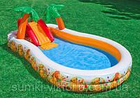 """Детский бассейн с надувной горкой """"Король лев"""" Intex 330x193x107 см , 57131"""