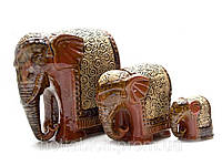 Статуэтка Слоны керамические коричневые набор