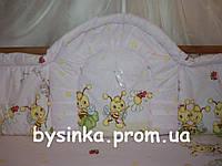 Бортики высокие, цельные (40 см) и комплект постели в кроватку детскую