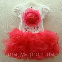 Платье летнее для девочки «Китти  с шляпой»
