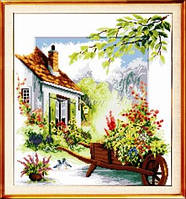 Набор для вышивания крестиком с печатью на ткани Дачный домик 11ст