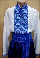 Святослав сорочка вишиванка сине-голубая, красно-черная, лен, мужская
