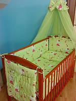 Детская постель в кроватку ТМ«ASIK» ( 8 ед. ) №132 «Hello Kitty» цвет салатовый