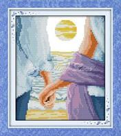 Набор для вышивания крестиком с печатью на ткани Голубая любовь