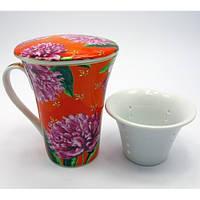 Чашка заварочная с ситом-Пионы на оранжевом фоне