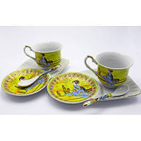 Сервиз фарфор-две персоны-Китаянка на желтом фоне