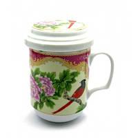 Чашка заварочная с ситом-Птица и цветок