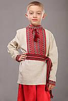Детская вышиванка из льна, красный орнамент