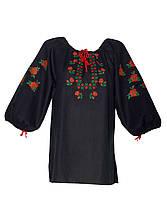 Блузы вышиванки и платья на их основе черный хб или лен 270грн