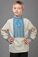 Детская вышиванка из льна, синий орнамент