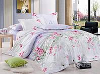 Постельное белье Батерфляй сатин ТМ Идеал белый цветы, 1,5, 2-спальный, евро, семейный Киев