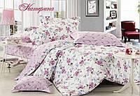 Постельное белье Катерина сатин ТМ Идеал, белый цветы 1,5, 2-спальный, евро, семейный Киев