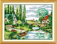 Набор для вышивания крестиком с печатью на ткани Сельский пейзаж 11ст