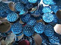 Камешек со стразами, диаметр 8 мм, упаковка 10 шт. Голубой