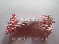 Тычинки для цветов круглые,  упаковка - 50 шт. (пучок из 25 двухсторонних нитей) Бледно-розовые