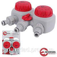 Таймер для подачи воды Intertool GE-2012, 2х канальное распределение,с сеточным фильтром,внутренняя резьба