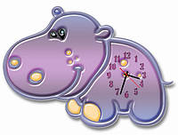 Детские фигурные настенные часы Бегемот, Бегемотик 30*40 см, часы для детской
