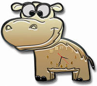 Детские фигурные настенные часы Бегемот, Бегемотик 30*35 см, часы для детской