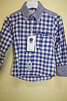 Рубашка синяя клетка, одежда для мальчиков 80-110