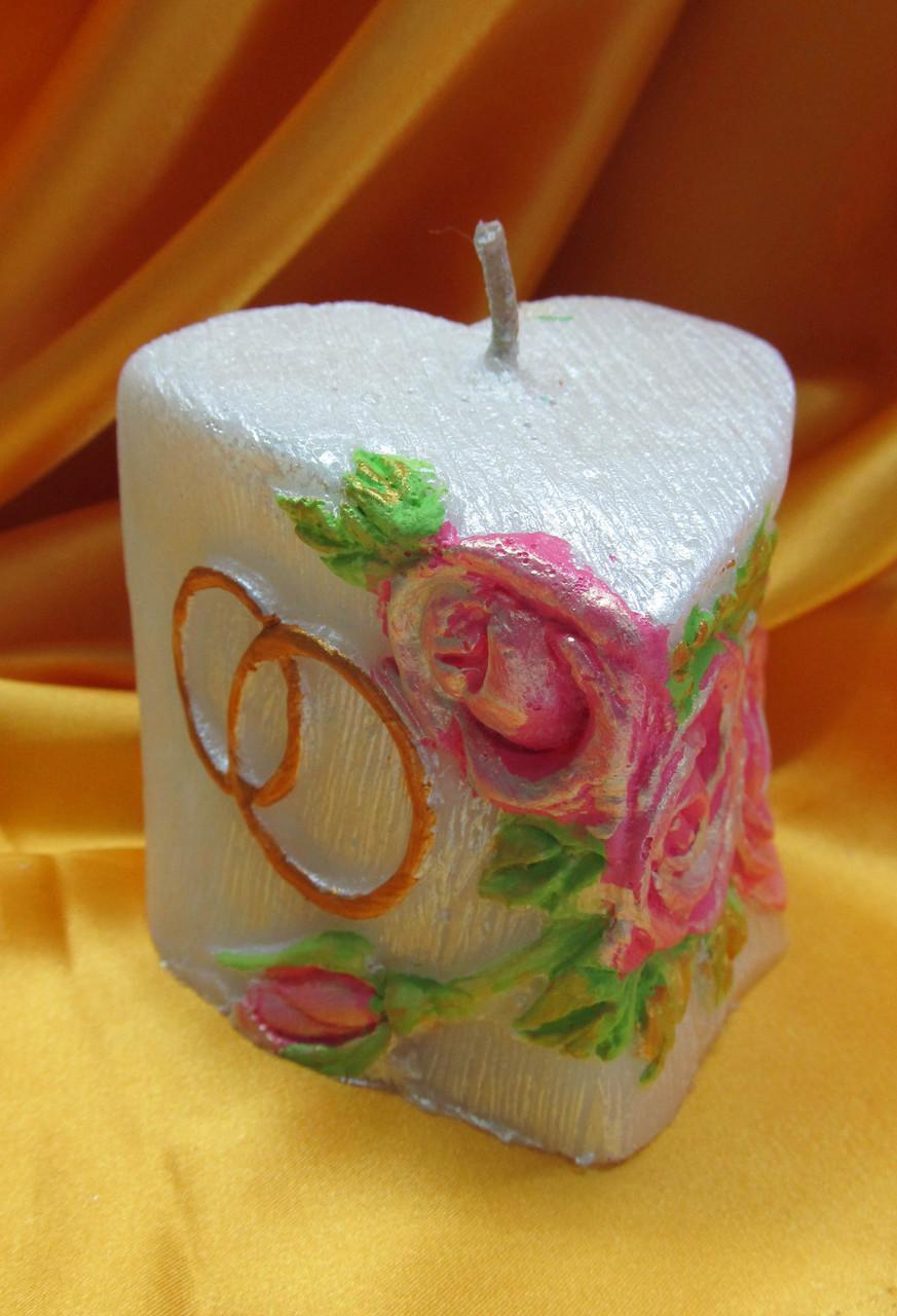 Свадебная свеча семейный очаг. Сердечко с кольцами цветное