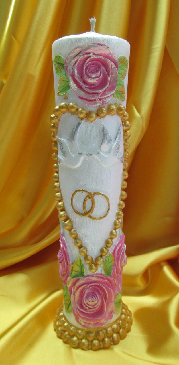 Свадебная свеча семейный очаг.Цилиндр с жемчужным сердцем цветной