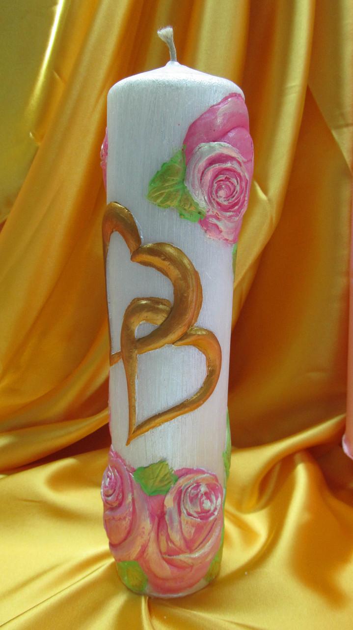 Свадебная свеча семейный очаг.Цилиндр два сердца цветной