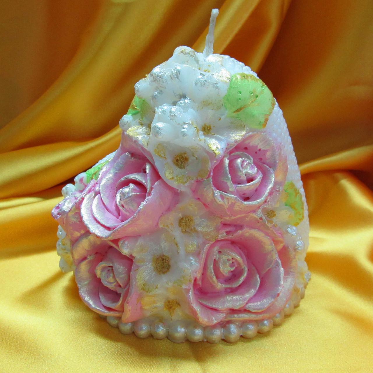 Свадебная свеча семейный очаг.Сердце жемчужное с букетом цветное