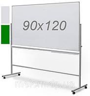 Комбинированная поворотная двухсторонняя доска мел/маркер на колесах 90х120 см