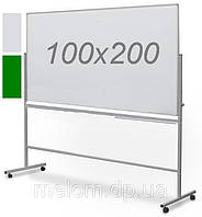 Комбинированная поворотная двухсторонняя доска мел/маркер на колесах 100х200 см