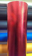 Карбон пленка глянцевая хром красная под лаком