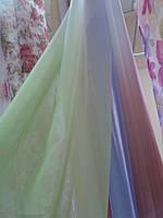 Тюль вуаль зелено- белая