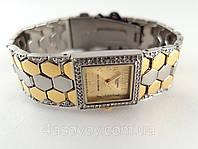 Часы женские - Планета - браслет металлическая змея, циферблат золотистый