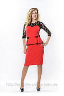 """Красное платье с чёрным гипюром """"Виктория"""""""