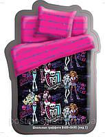 Постельное белье Монстер Хай Школьные граффити Monster high  бязь 100% хлопок, полуторный, розовый Киев