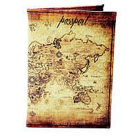 Обложка для паспорта из кожзама *Карта мира*