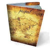 Кожаная обложка для паспорта Карта мира