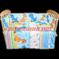 Комплект детского постельного белья в кроватку 120х60 ДИНО: наволочка, простынь, пододельник, Голубой