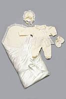 Комплект на выписку из роддома для девочки (человечек, конверт-одеяло, шапочка...) Модный Карапуз Молочный