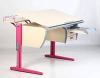 Стол СУТ.15+Тумба навесная ТСН.01-01+Полка задняя СУТ.15.210 (2 шт) + Полка навесная СУТ.14.230 клен/розовый