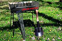 Тур мангал-чемодан на 8 шампуров в подарок саперная лопатка