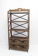Мебель Этажерка деревянная на 4 полки на 4 ящика.