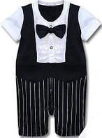 Нарядный костюм. Человечек Жених летний с коротким рукавом и бриджами на 3-6 мес