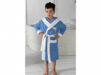 Детский халат для мальчика Philippus голубой с дельфинчиком 3-4 года